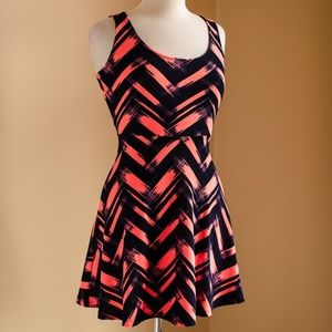 Navy and Pink Printed Dress with Chiffon Bow